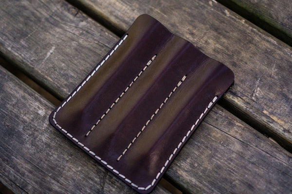Leather Triple Fountain Pen Case / Pen Pouch - Dark Brown-Galen Leather