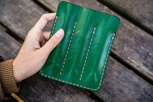 Leather Triple Fountain Pen Case / Pen Pouch - Green-Galen Leather