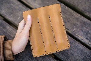 Leather Triple Fountain Pen Case / Pen Pouch - Natural-Galen Leather