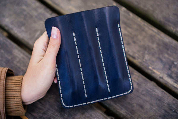 Leather Triple Fountain Pen Case / Pen Pouch - Navy Blue-Galen Leather