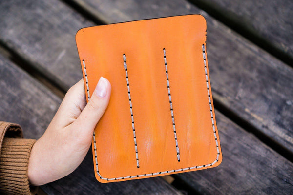 Leather Triple Fountain Pen Case / Pen Pouch - Orange-Galen Leather