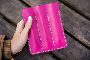 Leather Triple Fountain Pen Case / Pen Pouch - Pink-Galen Leather