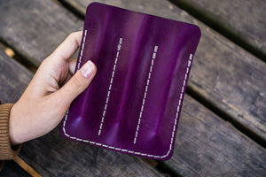 Leather Triple Fountain Pen Case / Pen Pouch - Purple-Galen Leather