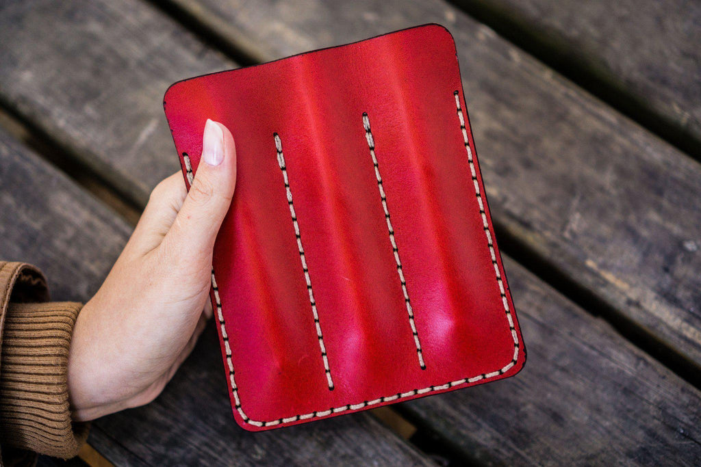 Leather Triple Fountain Pen Case / Pen Pouch - Red-Galen Leather