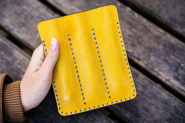 Leather Triple Fountain Pen Case / Pen Pouch - Yellow-Galen Leather