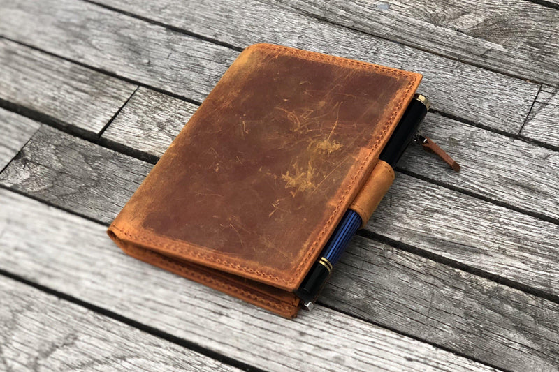 Leather Wallet Insert for Traveler's Notebook -Passport Size-Crazy Horse Brown-Galen Leather