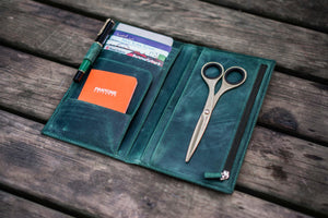 Leather Wallet Insert for Traveler's Notebook - Regular Size - Crazy Forest Green-Galen Leather