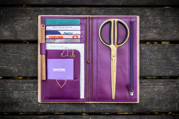 Purple Leather Wallet Insert for Traveler's Notebook