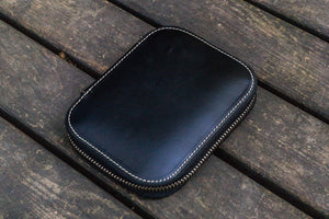 Leather Zippered 10 Slots Pen Case - Black-Galen Leather
