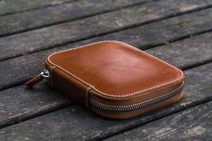 Leather Zippered 10 Slots Pen Case - Brown-Galen Leather