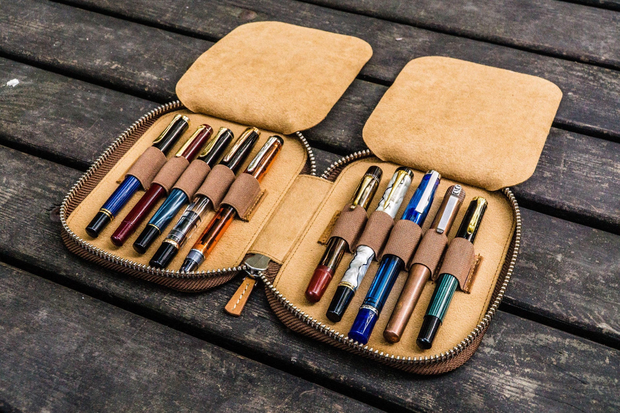 Leather Zippered 10 Slots Pen Case - Crazy Horse Brown-Galen Leather