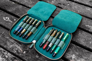 Leather Zippered 10 Slots Pen Case - Crazy Horse Forest Green-Galen Leather