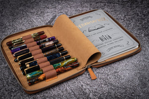 Leather Zippered 10 Slots Pen Case with A5 Notebook Holder - Crazy Horse Brown-Galen Leather
