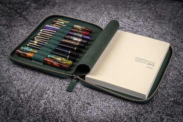 Leather Zippered 10 Slots Pen Case with A5 Notebook Holder - Crazy Horse Forest Green-Galen Leather