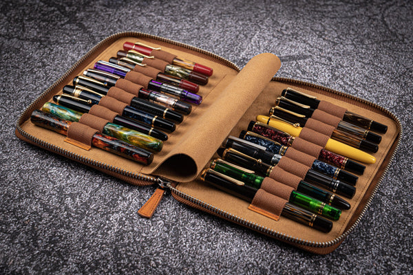 Leather Zippered 20 Slots Pen Case - Crazy Horse Brown-Galen Leather