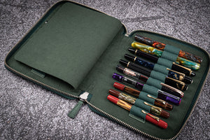 Leather Zippered 20 Slots Pen Case - Crazy Horse Forest Green-Galen Leather