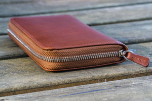 Leather Zippered 3 Slots Pen Case - Brown-Galen Leather