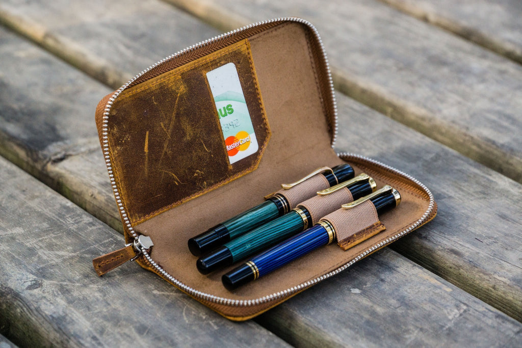 Leather Zippered 3 Slots Pen Case - Crazy Horse Brown-Galen Leather