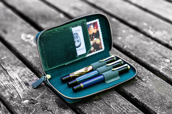 Leather Zippered 3 Slots Pen Case - Crazy Horse Forest Green-Galen Leather