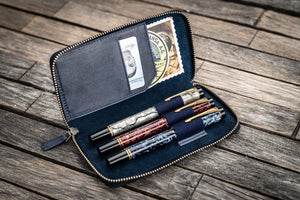 Leather Zippered 3 Slots Pen Case - Crazy Horse Navy Blue-Galen Leather