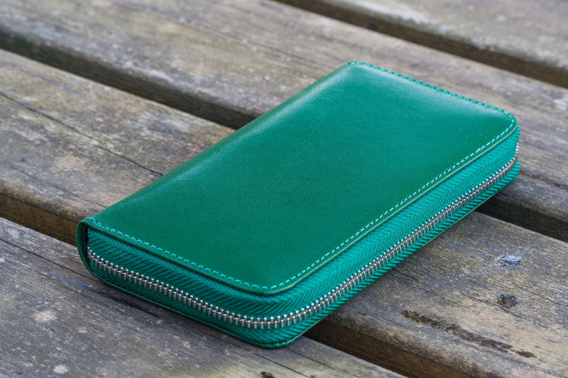 Leather Zippered 3 Slots Pen Case - Green-Galen Leather