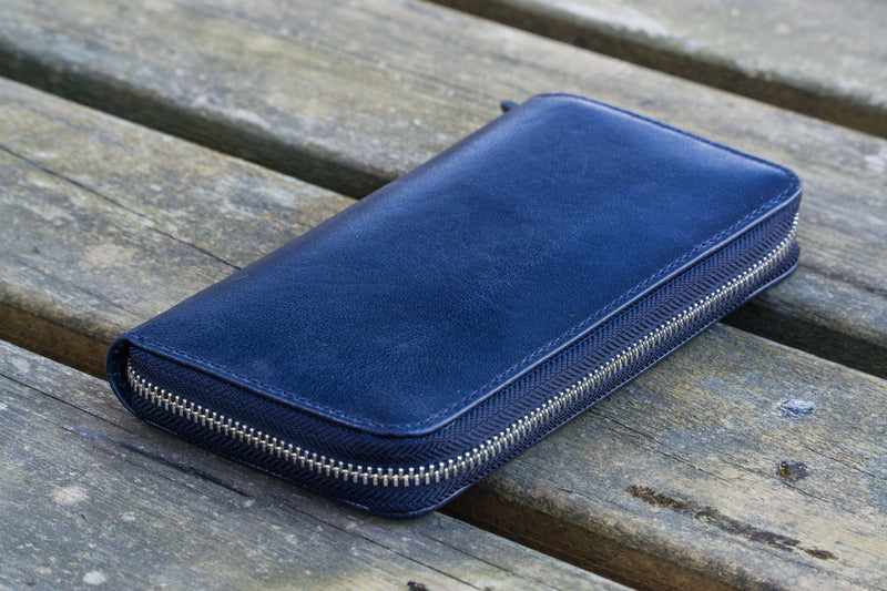 Leather Zippered 3 Slots Pen Case - Navy Blue-Galen Leather