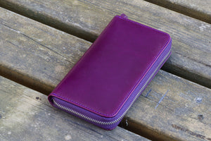 Leather Zippered 3 Slots Pen Case - Purple-Galen Leather