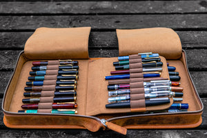 Leather Zippered 40 Slots Pen Case - Crazy Horse Brown-Galen Leather