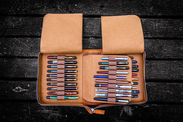 Leather Zippered 40 Slots Pen Case - Crazy Horse Brown