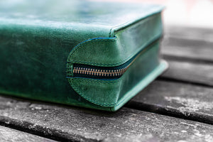 Leather Zippered 40 Slots Pen Case - Crazy Horse Forest Green-Galen Leather