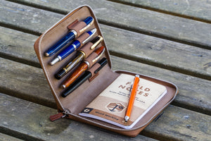 Leather Zippered 5 Slots Pen Case - Brown-Galen Leather