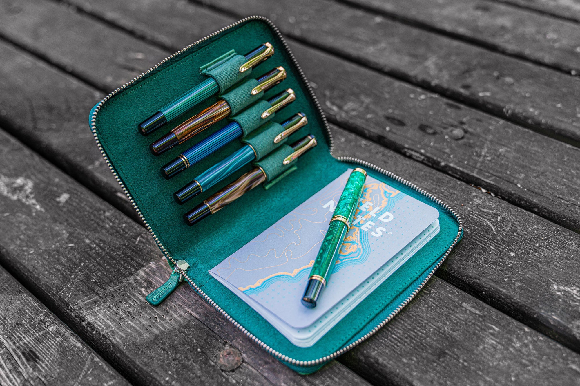Leather Zippered 5 Slots Pen Case - Crazy Horse Forest Green-Galen Leather