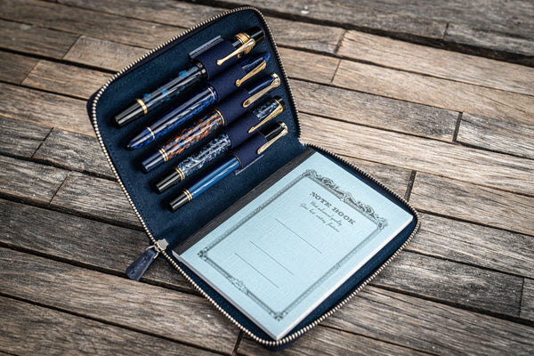 Leather Zippered 5 Slots Pen Case - Crazy Horse Navy Blue-Galen Leather
