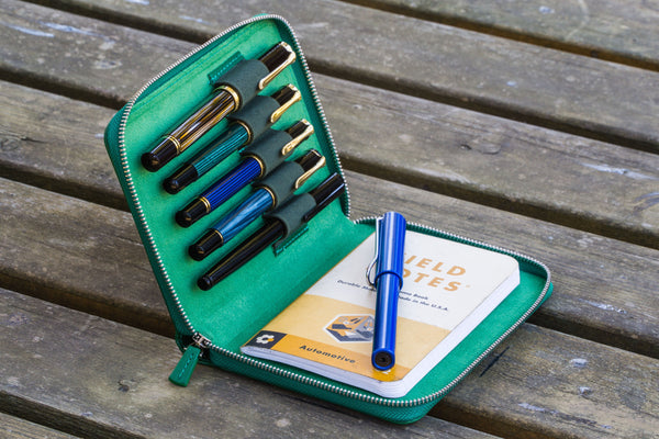 Leather Zippered 5 Slots Pen Case - Green-Galen Leather