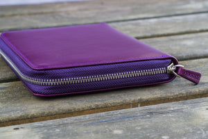 Leather Zippered 5 Slots Pen Case - Purple-Galen Leather