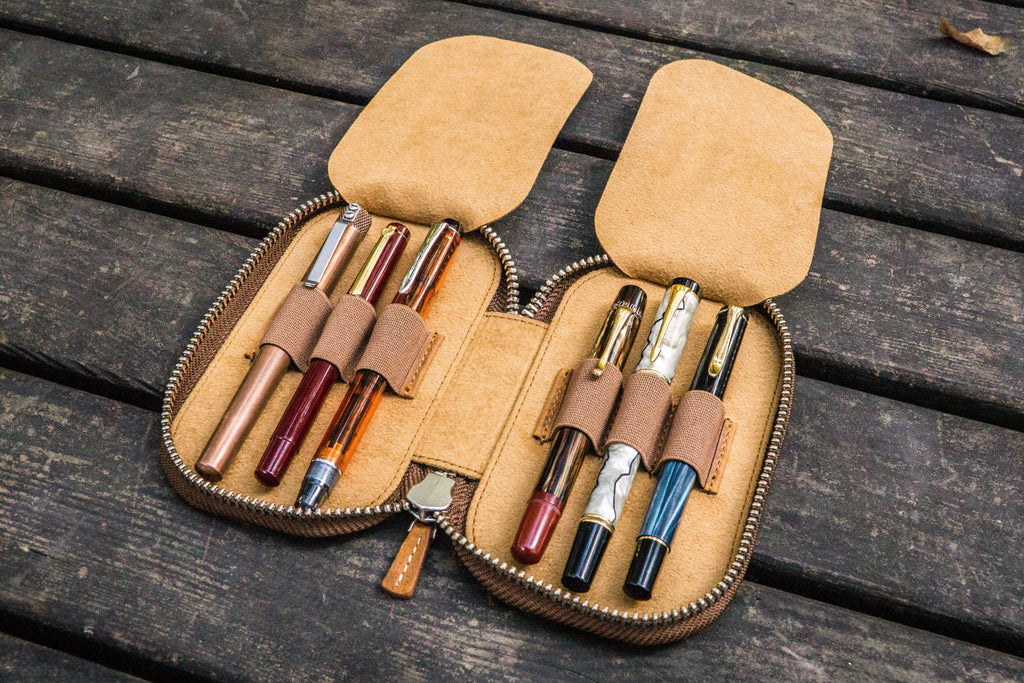 Leather Zippered 6 Slots Pen Case - Crazy Horse Brown-Galen Leather
