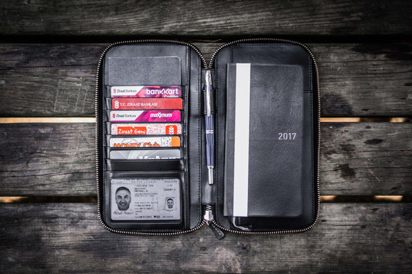 Leather Zippered Hobonichi Weeks Mega Cover - Black-Galen Leather