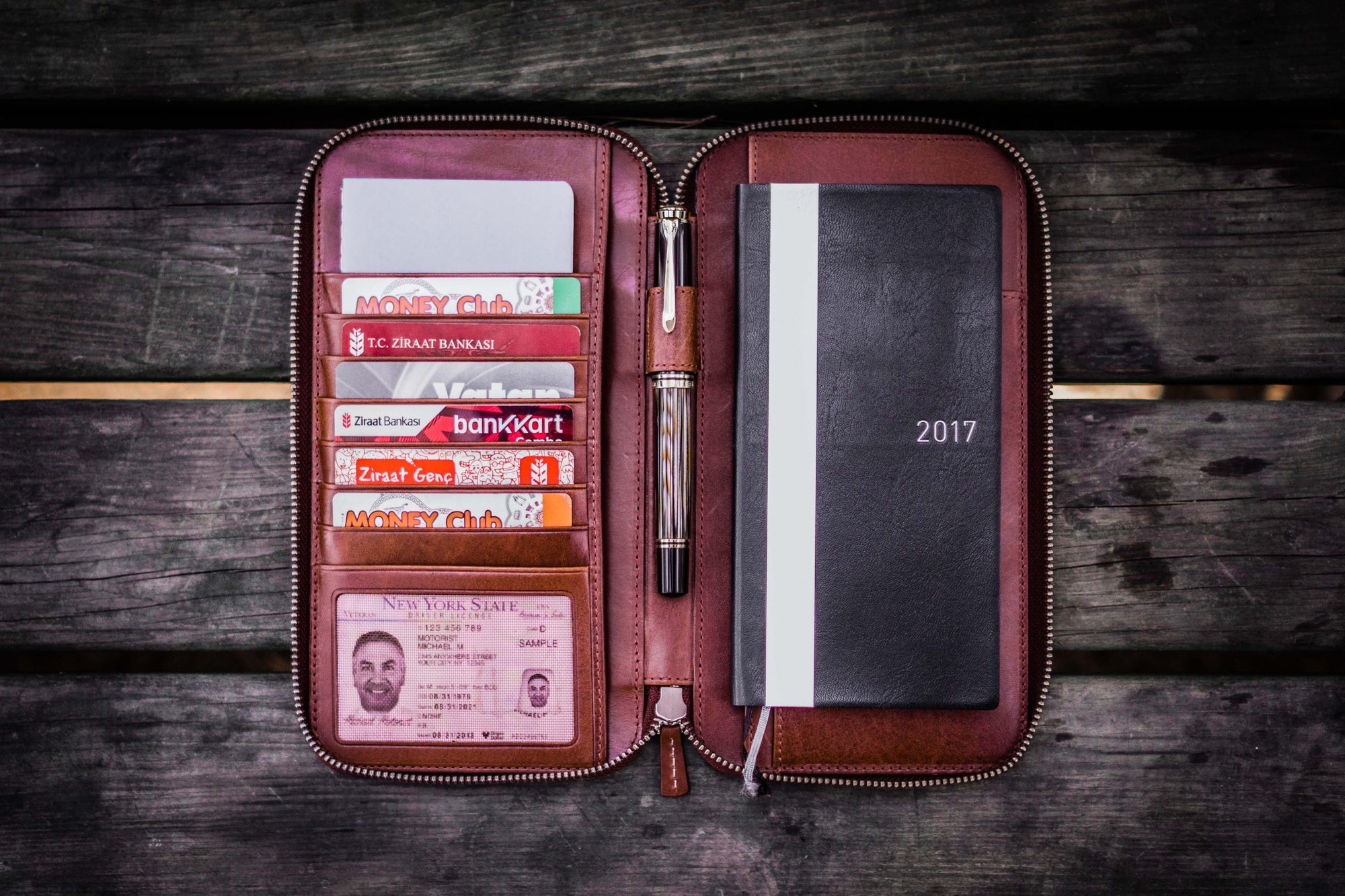 Leather Zippered Hobonichi Weeks Mega Cover - Brown-Galen Leather