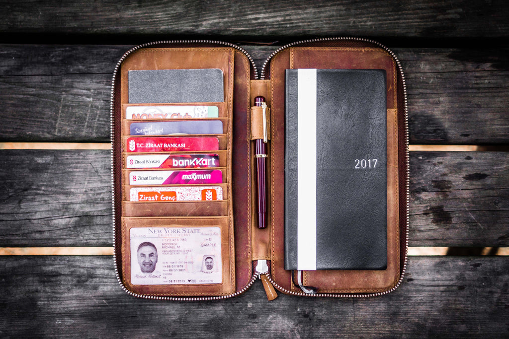Leather Zippered Hobonichi Weeks Mega Cover - Crazy Horse Brown-Galen Leather