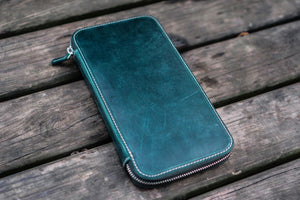 Leather Zippered Hobonichi Weeks Mega Cover - Crazy Horse Forest Green-Galen Leather