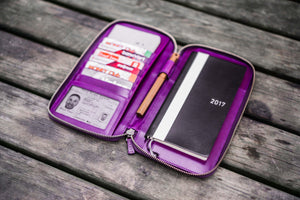 Leather Zippered Hobonichi Weeks Mega Cover - Purple-Galen Leather