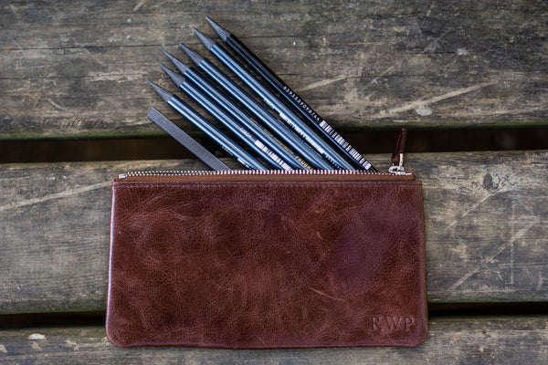 Leather Zippered Large Pencil Pouch / Pencil Case - Brown-Galen Leather