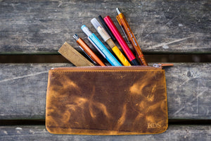 Leather Zippered Large Pencil Pouch / Pencil Case - Crazy Horse-Galen Leather
