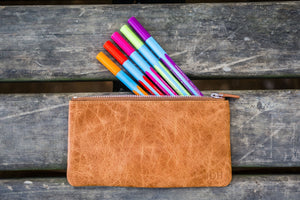 Leather Zippered Large Pencil Pouch / Pencil Case - Rustic Brown-Galen Leather