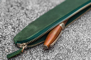 Leather Zippered Single Fountain Pen Pouch - Crazy Horse Forest Green-Galen Leather