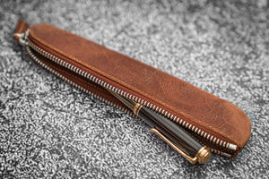 Leather Zippered Single Fountain Pen Pouch - Crazy Horse Tan-Galen Leather