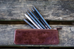 Leather Zippered Small Pencil Pouch / Pencil Case - Brown-Galen Leather