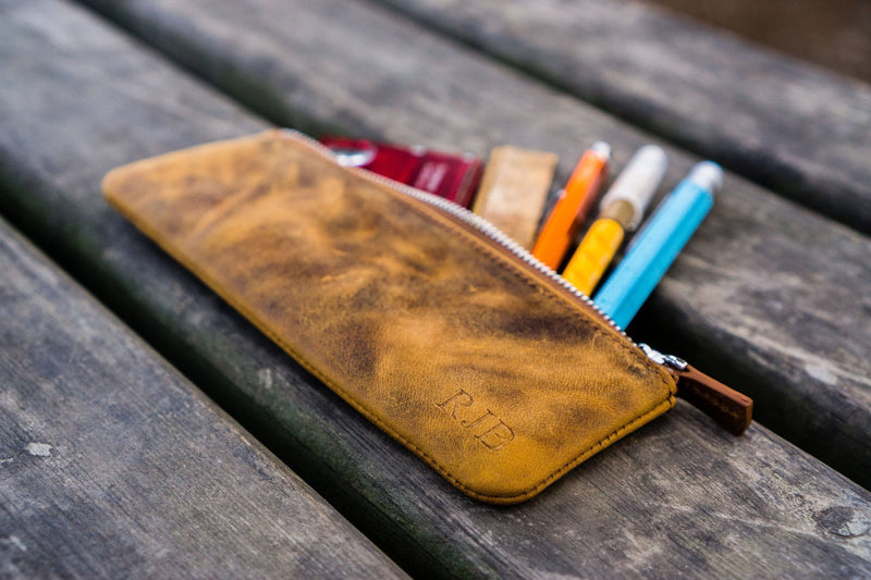 Leather Zippered Small Pencil Pouch / Pencil Case - Crazy Horse-Galen Leather