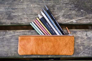Leather Zippered Small Pencil Pouch / Pencil Case - Rustic Brown-Galen Leather