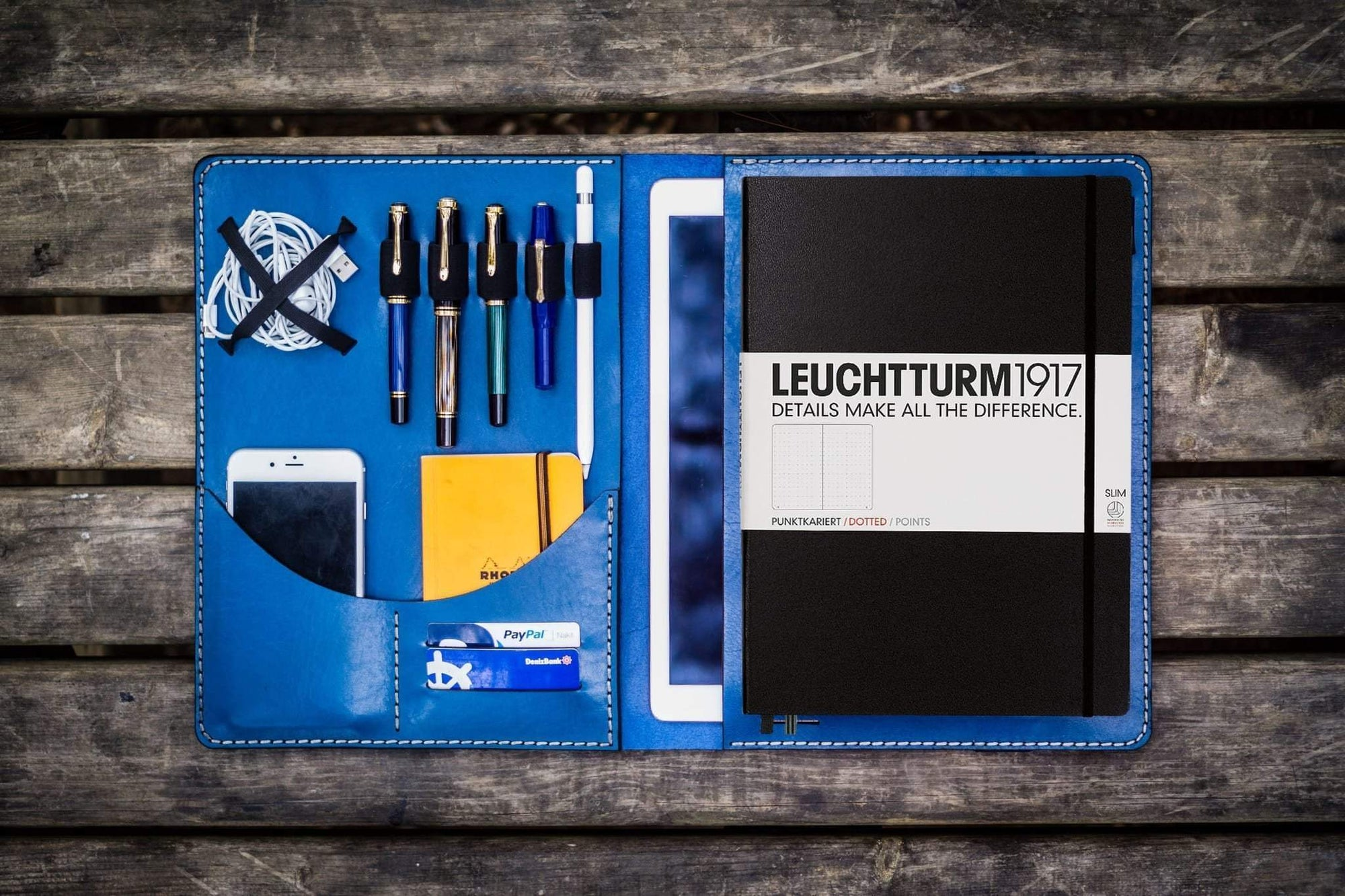Leuchtturm1917 A4 - A4+ Leather Cover Portfolio - Blue-Galen Leather
